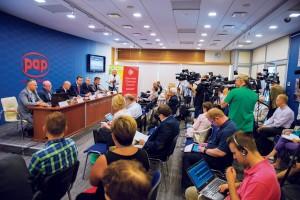 W konferencji w Centrum Prasowym PAP wzięło udział ponad czterdziestu dziennikarzy z prasy, radia i telewizji.